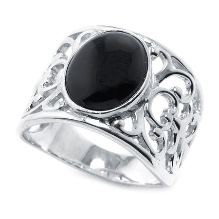 15MM Genuine Black Onyx Sterling Silver Band, 8 , No Color Family