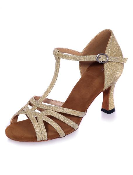 Milanoo Black Sandals Cut-Out Glitter Heels for Women