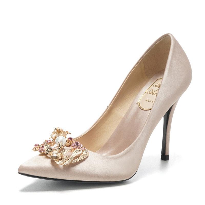 Ericdress Silk Fabric Rhinestone Stiletto Heel Pointed Toe Wedding Shoes