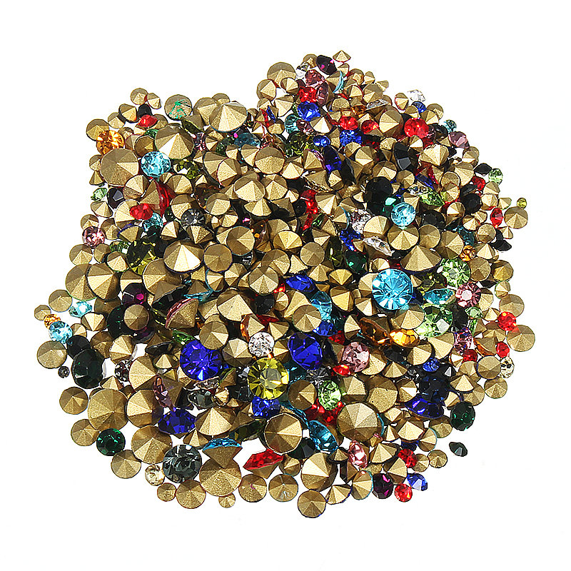 1200Pcs Nail Art Decoration Rhinestones Stud Colorful Shiny Clear Crystal