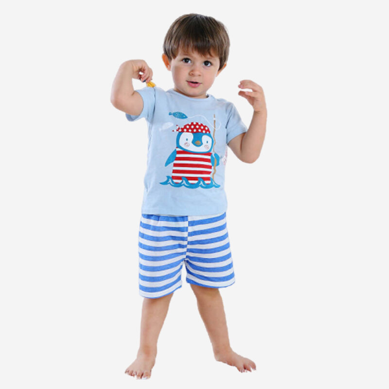 Boy's Penguin Striped Print Short Sleeves Casual Pajama Set For 1-5Y