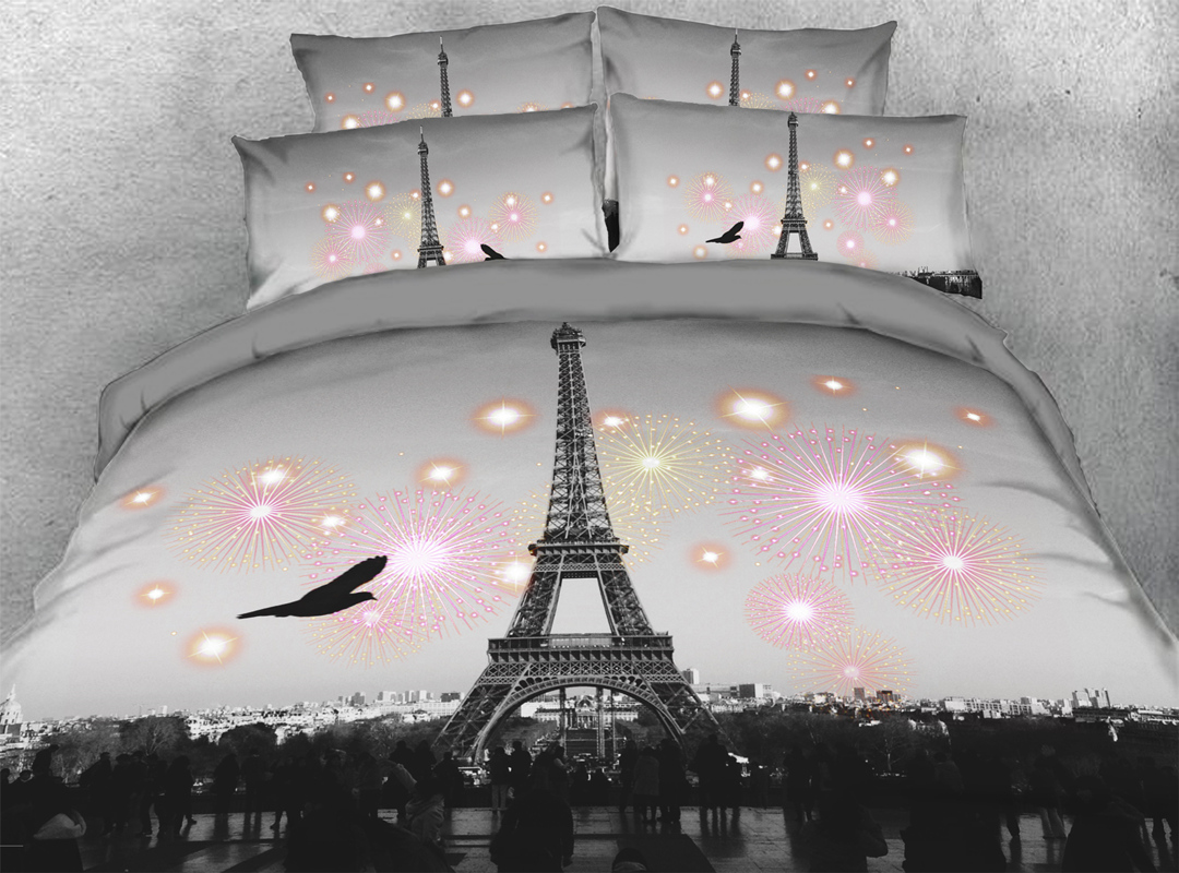 3D Eiffel Tower 5-Piece Scenery Comforter Set Zipper Ties Colorfast/Wear-resistant/Skin-friendly Grey Bedding Sets