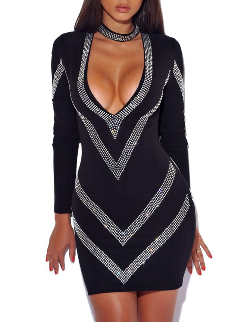 Ericdress Long Sleeve Rhinestone Bodycon Dress