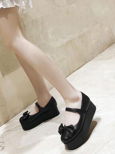 Milanoo Sweet Lolita Footwear Flatform Bows PU Leather Pumps Lolita Zapatos