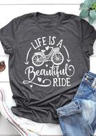 Life Is A Beautiful Ride Bike Heart T-Shirt Tee - Gray