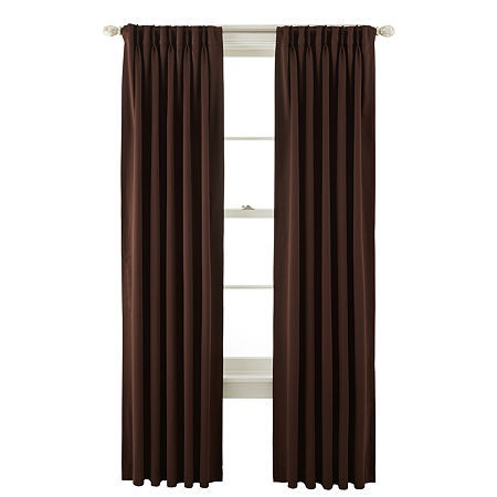 Liz Claiborne Kathryn Room-Darkening Pinch-Pleat/Back-Tab Curtain Panel, One Size , Brown