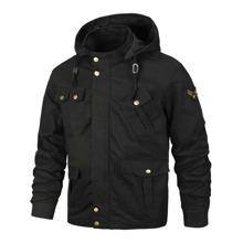Men Patched Flap Pocket Drawstring Hooded Jacket