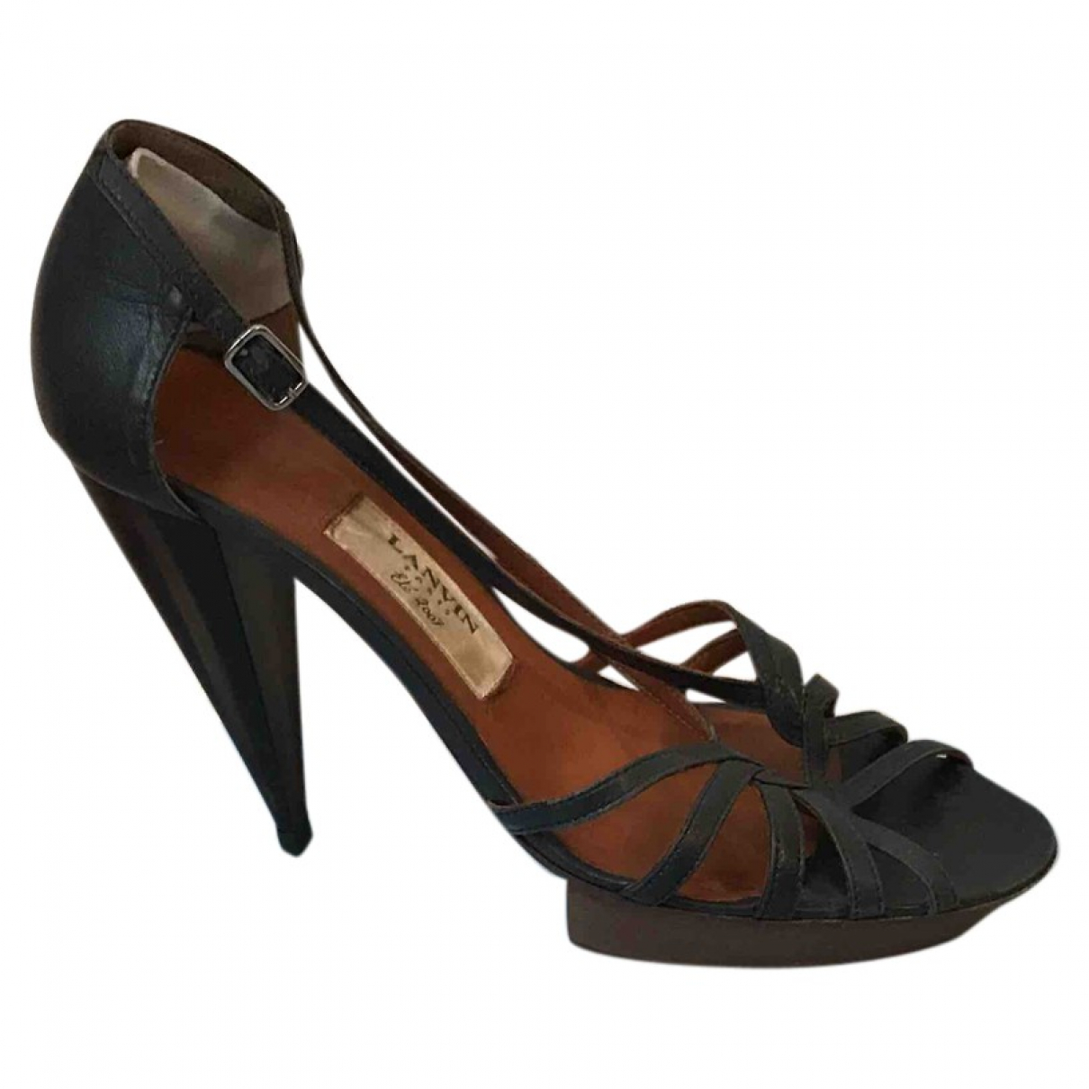 Lanvin \N Navy Leather Sandals for Women 38 EU