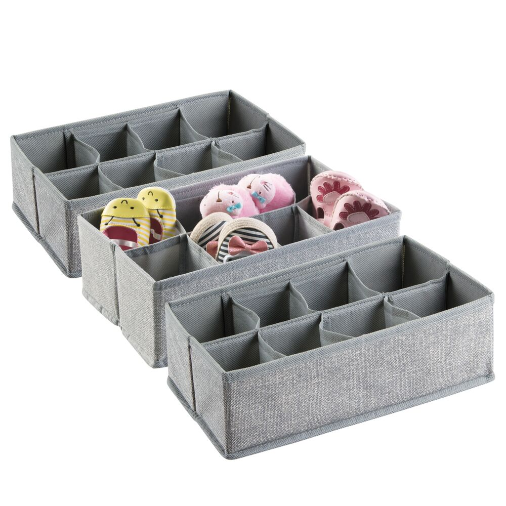 8 Section Kids Fabric Drawer Organizer in Gray, Set of 3, by mDesign