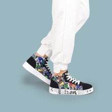 Lace--up Front Cartoon Graphic Sneakers