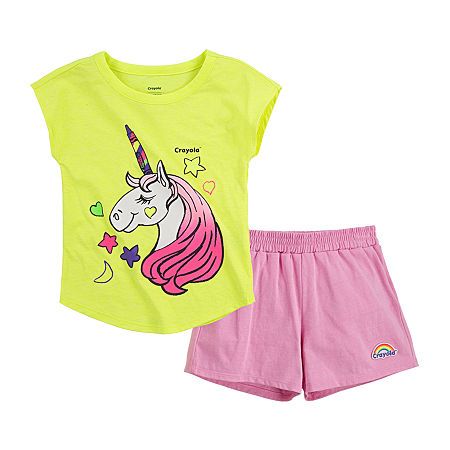 Crayola Baby Girls 2-pc. Short Set, 12 Months , Pink