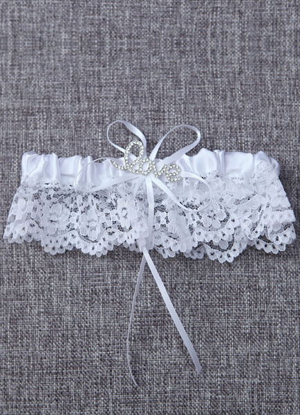 Milanoo Lace Wedding Garter White Rhinestones LOVE Satin Ruffle Bridal Garter With Ribbon Bow
