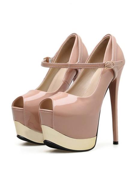 Milanoo Ultra High Heels Platforom Sexy Pumps Stiletto Heel Peep Toe Color Block Shoes