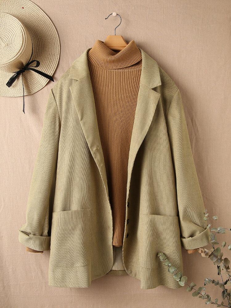Corduroy Vintage Pockets Long Sleeve Lapel Plus Size Jackets