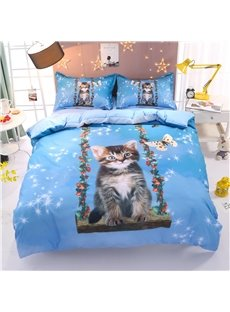 Cat and Butterfly Printed 4-Piece 3D Bedding Sets/Duvet Covers