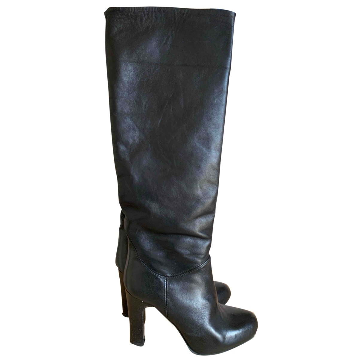 Non Signé / Unsigned \N Black Leather Boots for Women 37 IT