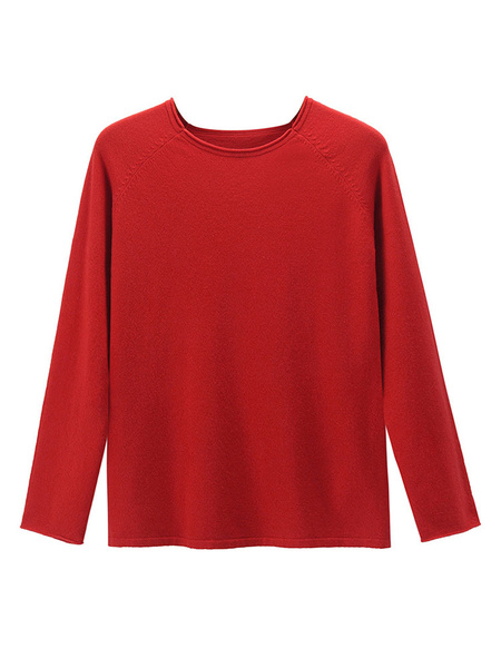 Milanoo Women Pullover Sweater Yellow Jewel Neck Long Sleeves Polyester Sweaters