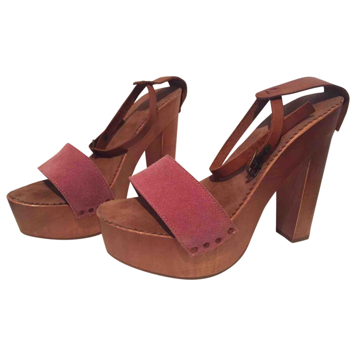 Non Sign?? / Unsigned \N Pink Suede Sandals for Women 37 EU