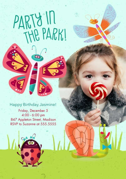 Kids Birthday Party Invites 5x7 Cards, Standard Cardstock 85lb, Card & Stationery -Party in the Park Birthday