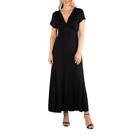 24/7 Comfort Apparel Cap Sleeve V-Neck Maxi, Small , Black