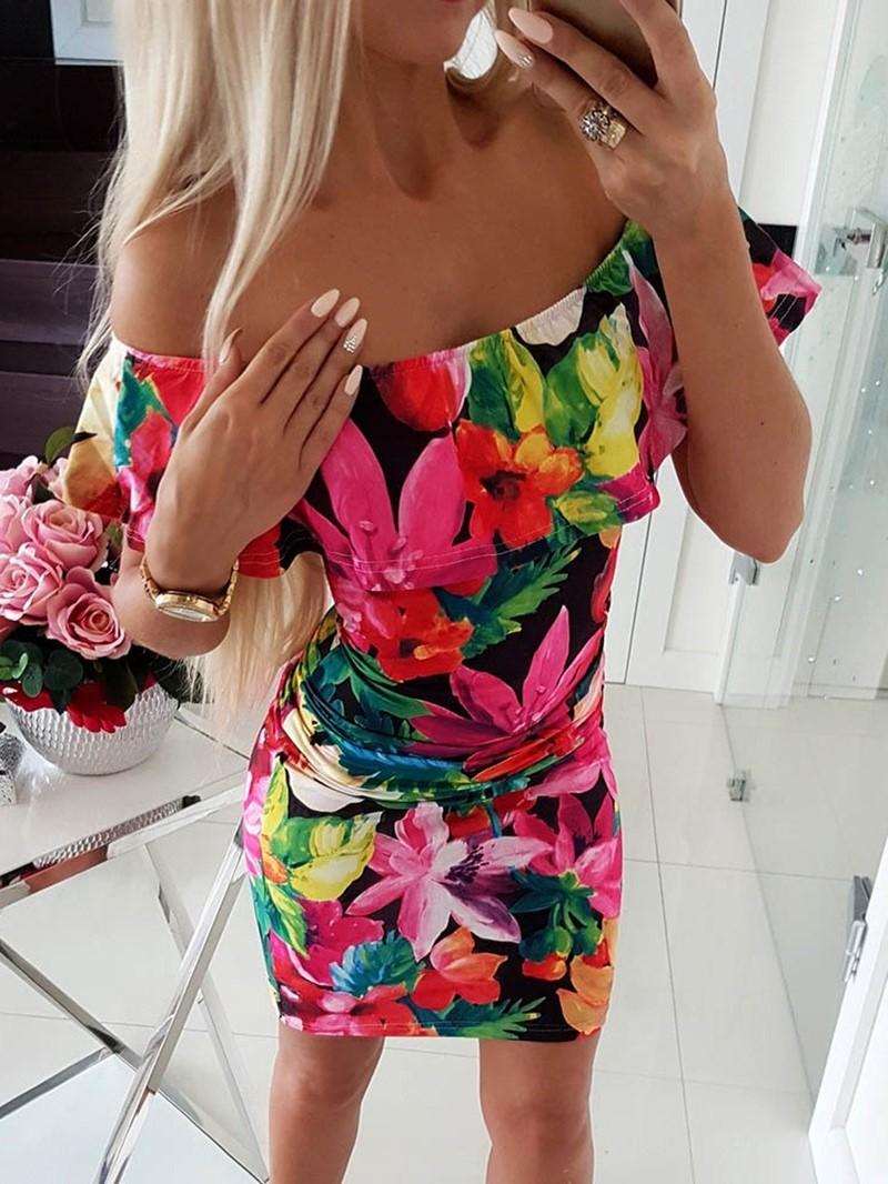 Ericdress Off Shoulder Floral Print Above Knee Bodycon Regular Dress