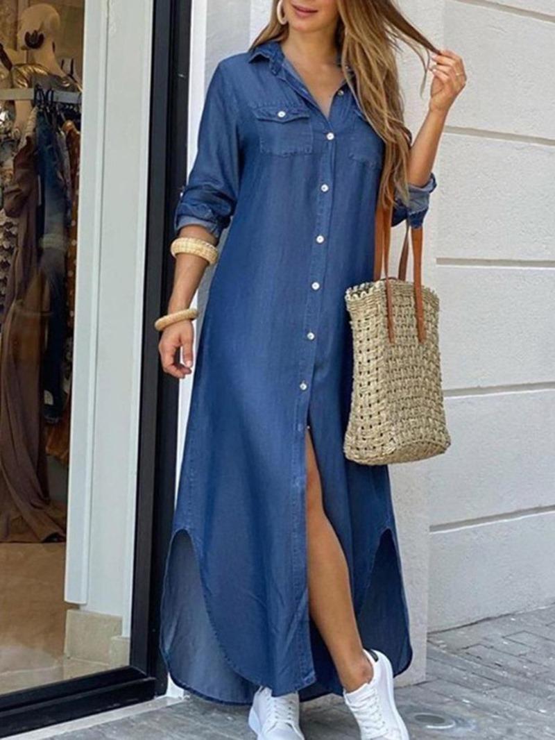 Ericdress Lapel Print Long Sleeve Regular Mid Waist Dress