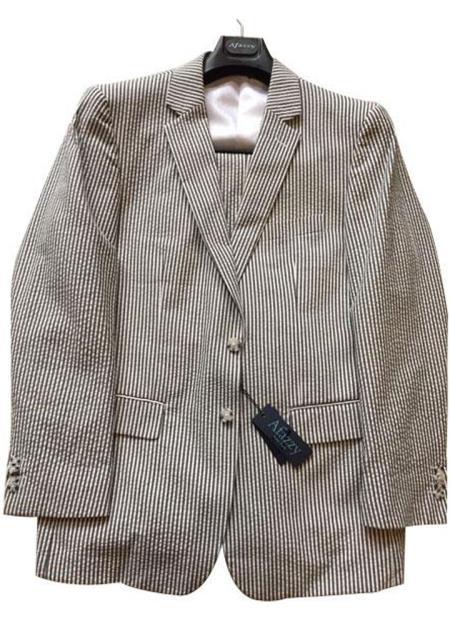 Mens Black/White Fit Striped Cotton seersucker suit Flat Front Pants