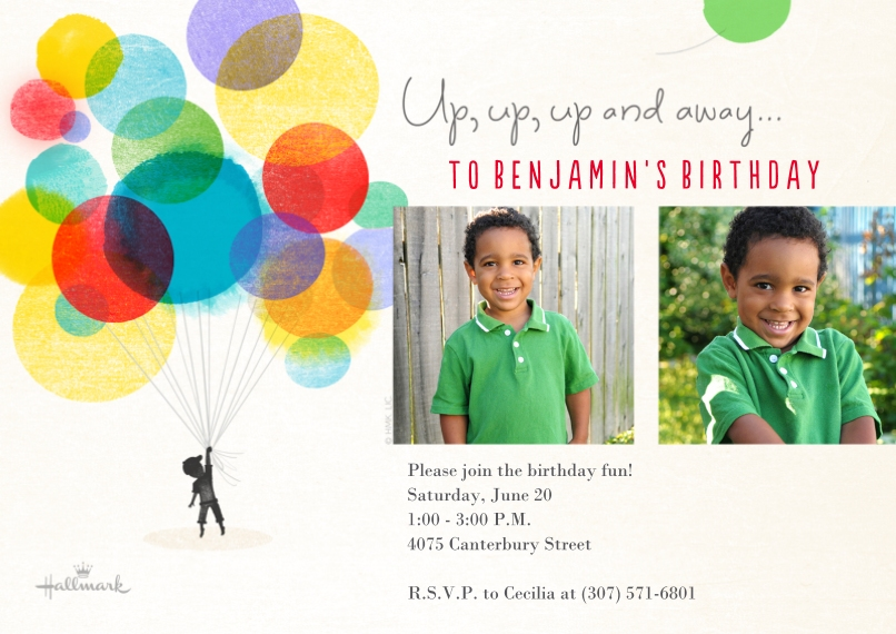 Kids Birthday Party Invites 5x7 Cards, Premium Cardstock 120lb, Card & Stationery -Watercolor Balloons