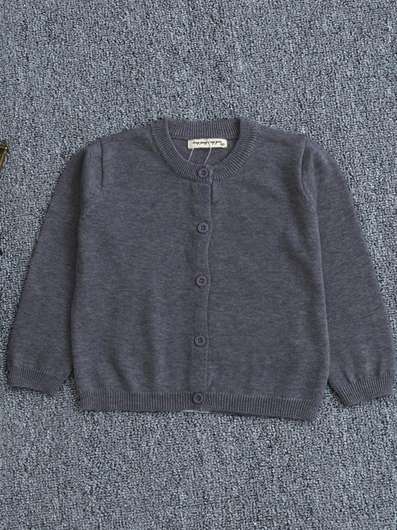 Ericress Plain Single-Breasted Long-Sleeve Girl's Knit Cardigan