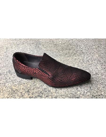 Men's Burgundy Leopard Genuine Suede Leather Slip-On Loafer Shoes