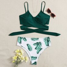 Plus Palm Print Wrap Bikini Swimsuit