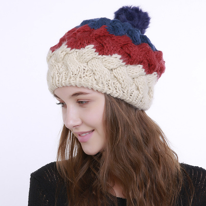 Women Winter Warm Stitching Beanies Hat With Fur Pompom Windproof Ear Warm Knitted Hat