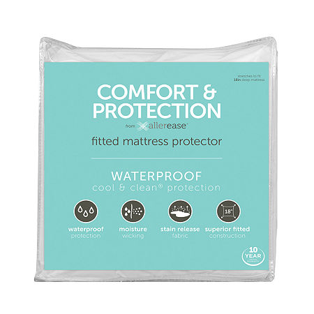 Allerease Comfort And Protection Waterproof Mattress Protector, One Size , White