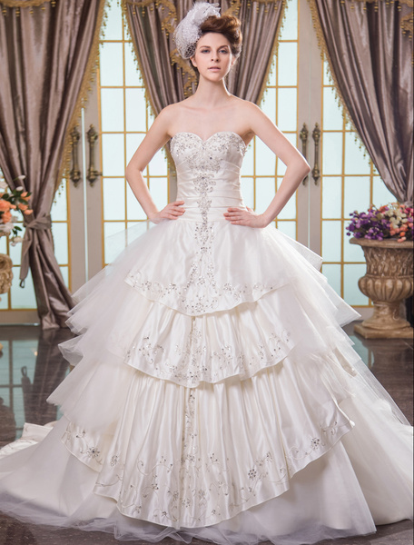 Milanoo Ivory Ball Gown Sweetheart Cathedral Train Brides Wedding Dress