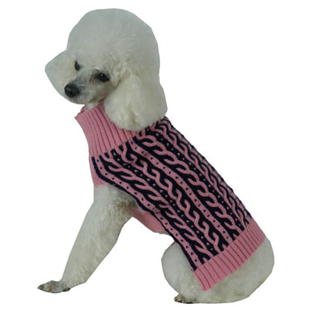 The Pet Life Harmonious Dual Color Weaved Heavy Cable Knitted Fashion Designer Dog Sweater, One Size , Pink