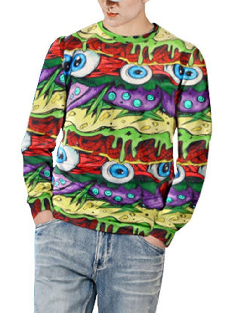 Cool Halloween 3D Graffiti Eyes Printed Round Neck Soft Men's Fashion Hoodies