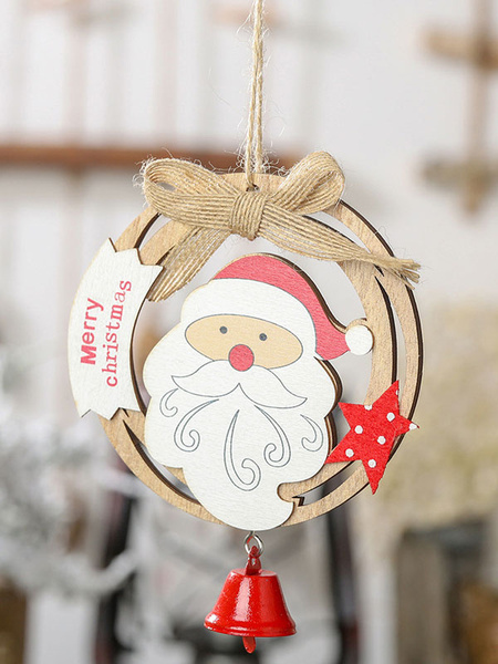 Milanoo Xmas Party Supplies Wood Bell Christmas Costume Decorations
