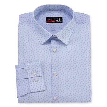 JF J.Ferrar - Slim Easy Care Stretch Mens Point Collar Long Sleeve Stretch Dress Shirt, 16-16.5 32-33, Pink