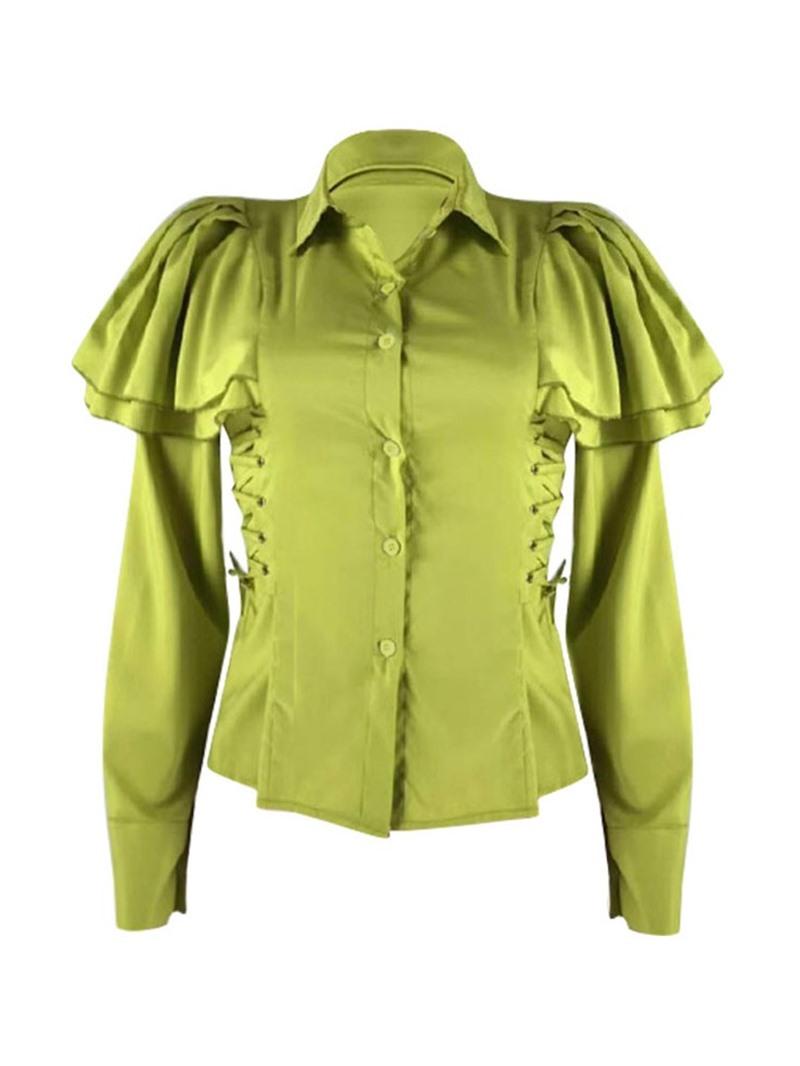 Ericdress Plain Falbala Ruffle Sleeve Standard Long Sleeve Blouse