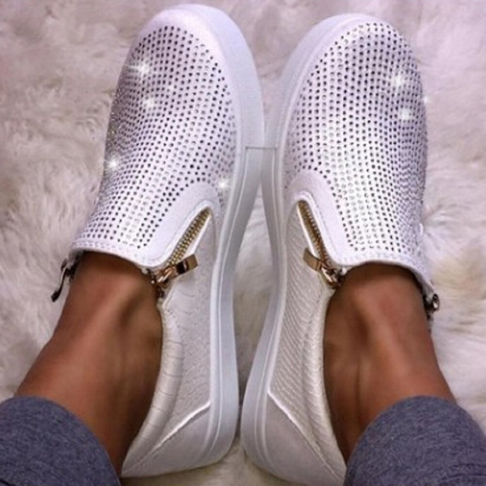 Women Casual Rhinestone Zipper Soft Flat Loafers