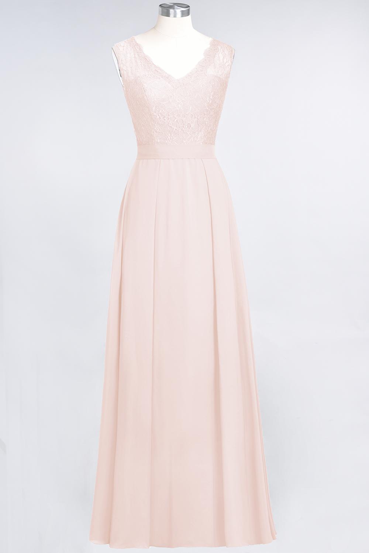 BMbridal Modest Chiffon V-Neck Burgundy Lace Bridesmaid Dresses Online