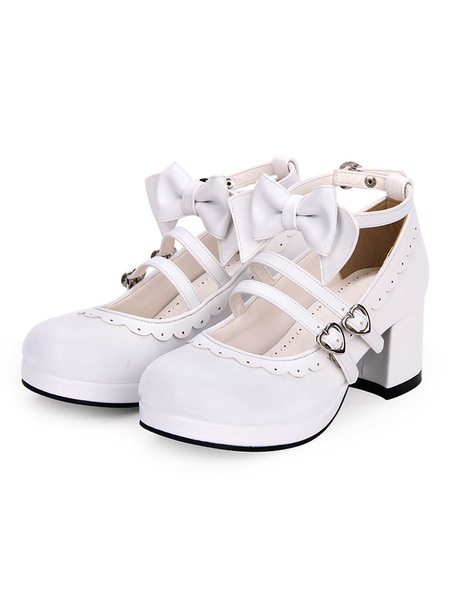Milanoo Sweet Lolita Footwear Bow Frill Strappy Chunky High Heel White Lolita Shoes