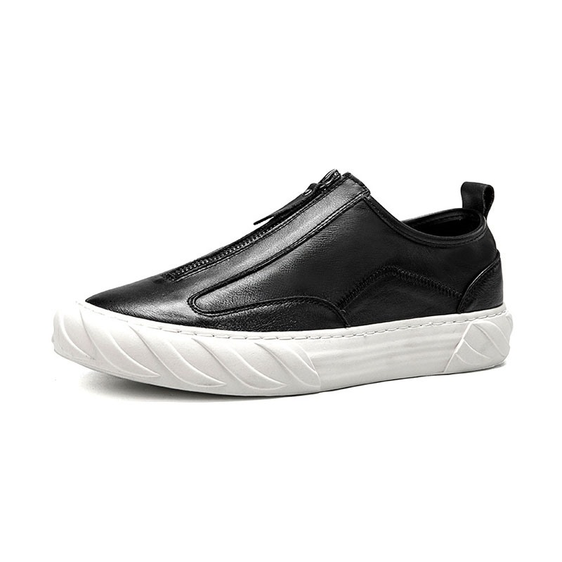 Ericdress Plain Zipper Round Toe Men's Dress Shoes