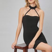 Strappy Neck Solid Bodycon Halter Dress