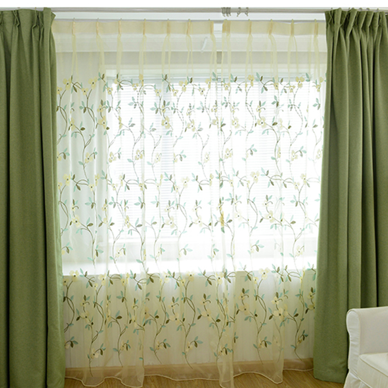 Concise and Fresh Embroidered Flowers 2 Panels Living Room Sheer Curtain