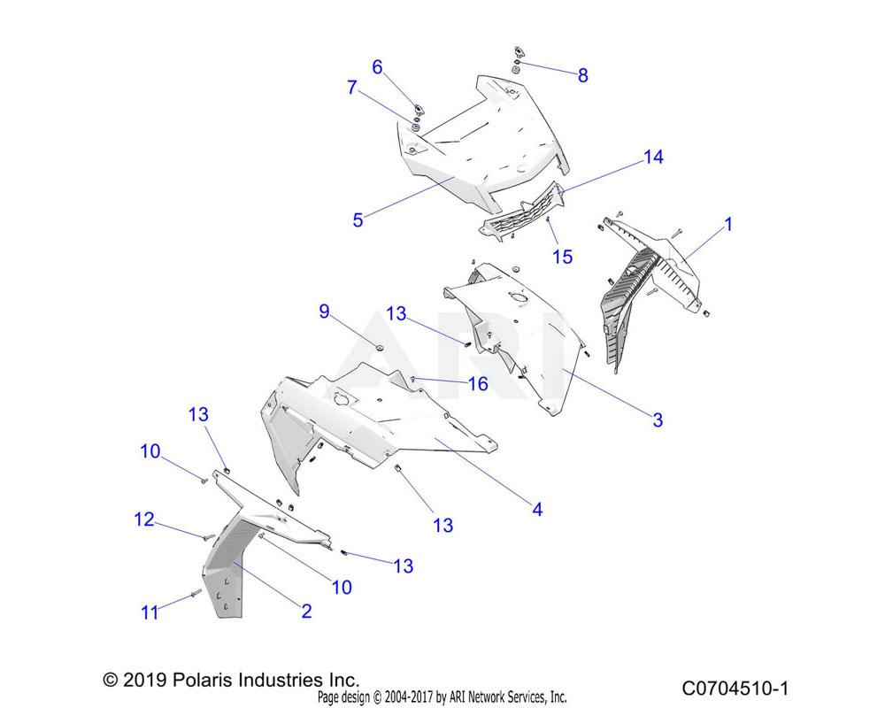 Polaris OEM 5454653-266 FENDER-FR, PNTD, LH, C.BLK