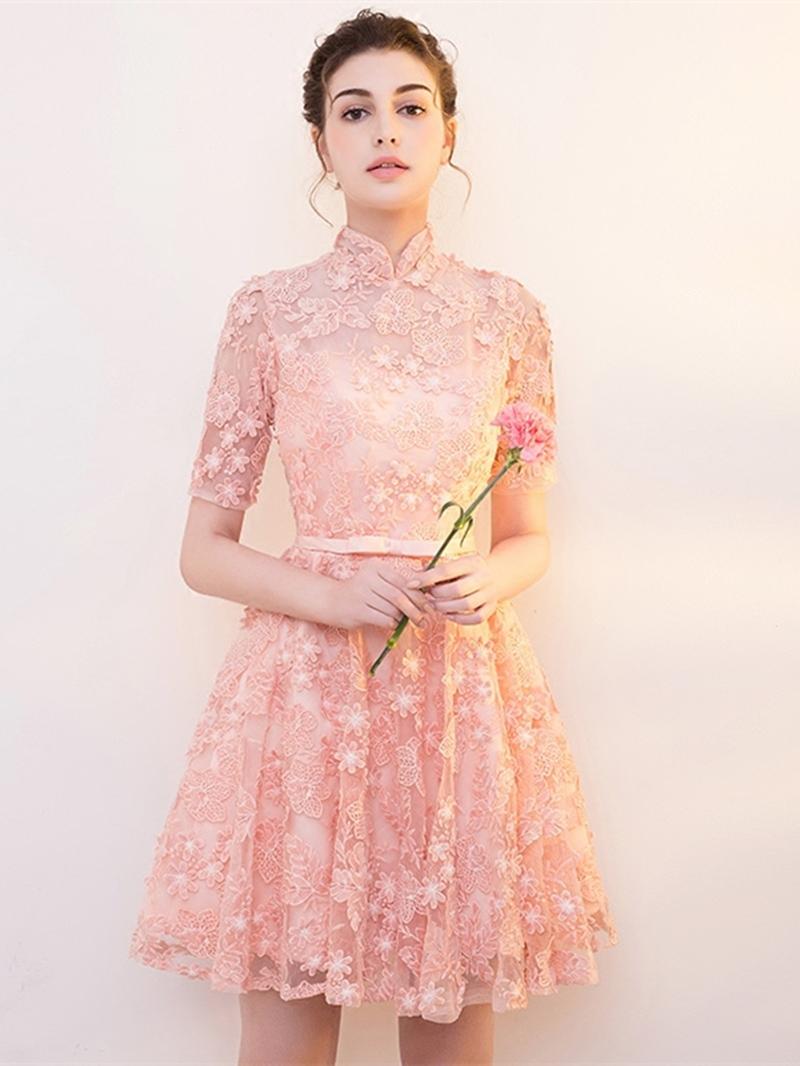 Ericdress Short Sleeve High Neck Lace Cocktail Dress