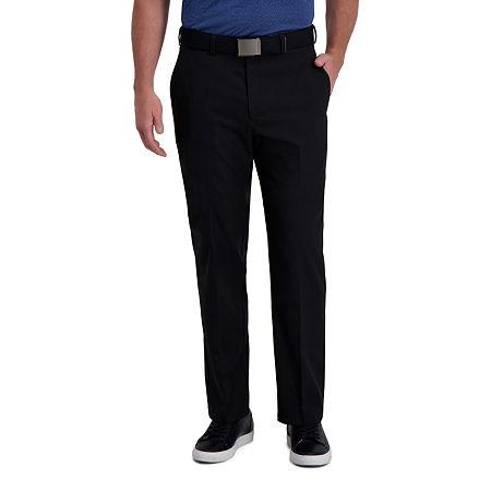 Haggar Cool Right Performance Flex Classic Fit Flat Front Men's Pant, 36 31, Black