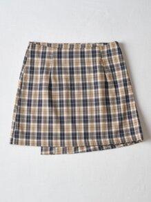 Plaid Button Wrap Skirt