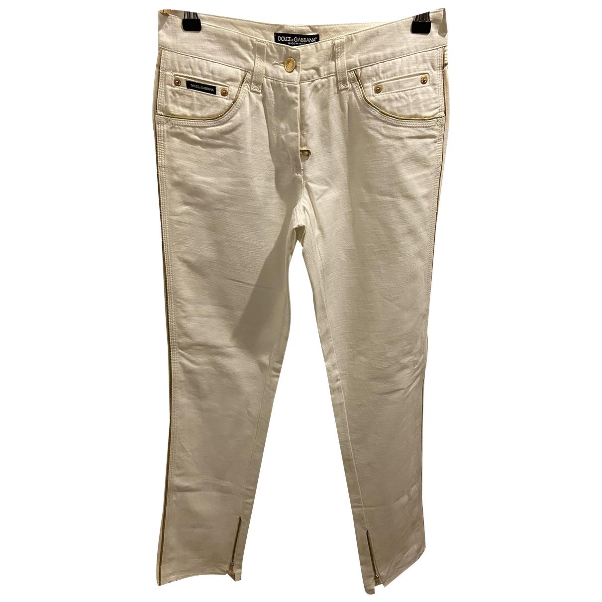 Dolce & Gabbana \N Ecru Cotton Trousers for Women 38 IT